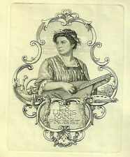 Alfred COSSMANN 1870-1951 Musik Exlibris Music Lady w Lute Copper Engraving C2