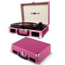 Gratte Mallette Record Player Vinyle Portable Plateau tournant 3 W Haut-parleur stéréo rose