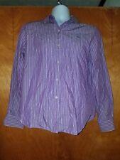 Lauren Ralph Lauren Medium M Purple Striped Long Sleeve Button Down Shirt Blouse