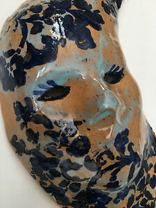 "Porcelain Mask - ""Floral Moon"" nc artist Helen Seebold wall hanging"