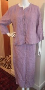 EILEEN FISHER SUIT SKIRT 100% LINEN SKIRT TUNIC PURPLE SIZE M/L