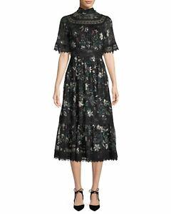 kate spade new yorkbotanical chiffon mock-neck midi dress RRP £505