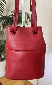 VTG Coach #4923 Sonoma RED Textured Leather Shoulder Bucket Slingbag GREAT