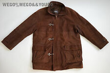 BALLY Italy Mens Brown Suede Leather Jacket Metal Clasp size 42 Rare