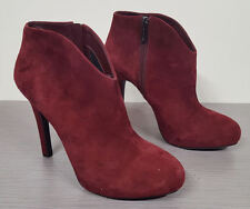Jessica Simpson Arriel Suede Ankle Dress Boots Red Womens Size 9.5 / 39.5