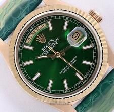 Rolex Day-Date 36mm President 18k Gold 18038-Green Stick Dial-Green Leather Band