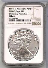 2020 (P) Plateado Águila NGC MS69 - Emergencia Producción Philadelphia Mint-