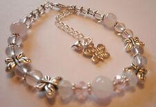 gemstone fertility love healing bracelet moonstone rose quartz butterfly charms