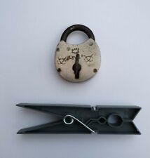Vintage small steel handmade Padlock working with key.