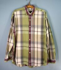 PERRY ELLIS Mens L Plaid 100% Cotton Shirt Longsleeve Green Maroon Casual