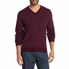 Brooks Brothers Mens Micro Dot Wool Blend V-Neck Sweater (S, Maroon)