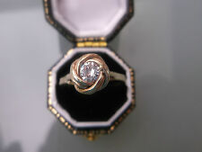 Women's Gold Ring Stylish 9ct Gold Solitaire Ring CZ Ring Size Q Weight 1.4g