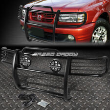 BLACK BRUSH GRILLE GUARD+ROUND CLEAR FOG LIGHT FOR 98-02 PASSPORT/RODEO SPORT