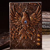 Retro Notizbuch Tagebuch Notebook Reisetagebuch Handarbeit Phönix Gravieren