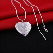 Women Fashion Jewelry 925 Silver Heart Locket Pendant Chain Chocker Necklace
