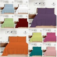 Plain Dyed Flat Top Sheet OR Pillow Cases Single Double King Bed All Sizes