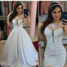 Sexy Wedding Dresses Beaded Lace White Ivory Bridal Gown Detachable Train Custom