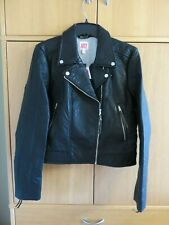 Juicy Couture HW Faux Leather Moto Jacket - Pitch Black - Size L (UK 14) - NEW
