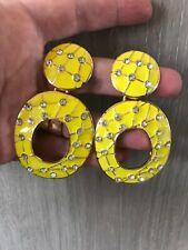 MASSIVE ZARA retro style yellow enamel encrusted rhinestones drop dangle earring
