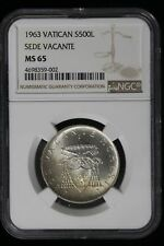 1963 Vatican. 500 Lire. NGC Graded MS-65.