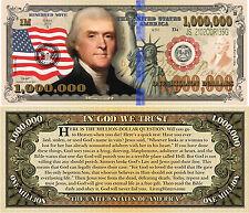 Thomas Jefferson Million Dollar Bill Fake Funny Money Novelty Note Gospel Tract