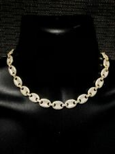 "14k Gold Over Solid 925 Sterling Silver Mens Gucci Link Choker Chain 18"" Diamond"