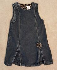 ADORABLE! GYMBOREE 4 YEARS LEOPARD PRINT LINED JEAN JUMPER DRESS