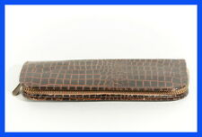 50ies Fake SNAKE leather case for two pen /pencils - brown textile inside