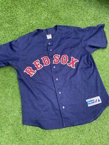 boston red sox jersey Majestic MLB Rare Vintage Large Mens