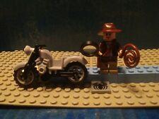 Lego Indiana Jones mini figure with motorcycle