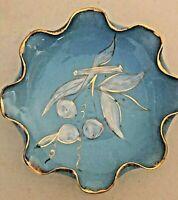 "8"" Italian  Bowl - Lite Blue with Gold Ruffled Edge & Cherry Design - Very NICE"