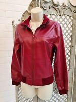 Suzie 💋Burgundy Red Faux Leather Biker Bomber Jacket Coat 10  Retro Trendy