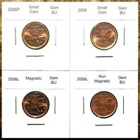 Canada 2006, 2006P, 2006L Magnetic & Non Small Cents Gem BU UNC Set!!