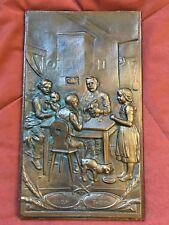 """Reliefbild Bronze Relief Bauernstube """"Unser täglich Brot"""""""