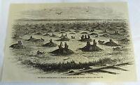 1882 magazine engraving ~ PRAIRIE DOG CITY NEAR PACIFIC RAILROAD