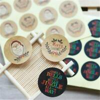 120Pcs Merry Christmas Craft Package Sticker Kraft Paper Labels Seals Stickers