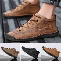 Mens Breathable Driving Casual Boat Shoes Leather Flats Moccasin Lace Up Loafers