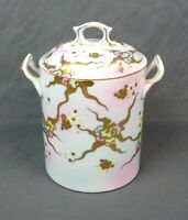 Antique Porcelain Jar With Lid Condensed Milk Hand Painted Gold Trim Marked