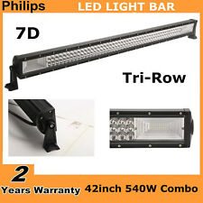 7D TRI-ROW 42INCH 540W SLIM LED WORK LIGHT BAR COMBO DRIVING JEEP LAMP VS 240W