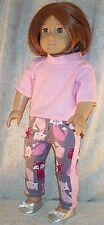 "Doll Clothes Made 2 Fit American Girl 18"" inch Sleepwear 2pcs Foxes Pink"