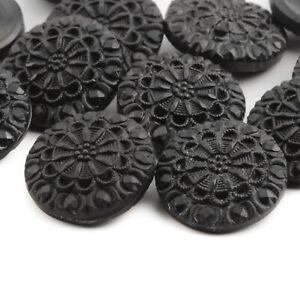 Lot (12) Czech vintage floral black glass buttons 23mm