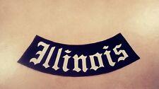 Illinois Bottom Rocker Patch, Black & White Harley, Outlaws MC, 15, 1%er (IL)