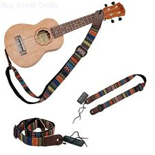 MUSIC FIRST Classic Country style Soft Cotton & Genuine Leather Ukulele Strap
