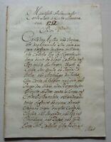 Manuscript handwritten XVIII Century Manifest Emperor Charles VI sends to Curia
