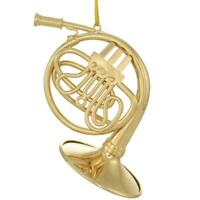 3.25 Inch Gold Metal French Horn Ornament Christmas X-Mas Gift Holiday Horn