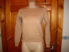 Atmosphere ladies beige and gold fine knit long sleeved jumper thin fitted vgc