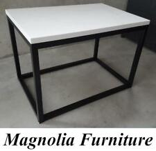 Coffee Table Bench Powder Coated Steel Frame White Quartz Stone Top Commercial