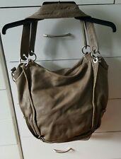 ADA G Mushroom Beige Soft Leather Shoulder Handbag Bag Boho Hobo Crossbody GC
