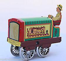 TIN TOY TRAIN TRACK WORKER CLOCKWORK RAILWAY ENGINE COLLECTIBLE