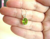PERIDOT PENDANT NECKLACE 100% NATURAL GEM 10X8MM  ITALIAN CHAIN